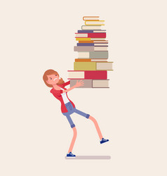girl holding a pile of books vector image