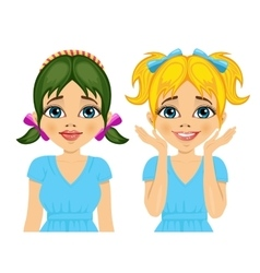 girl with different hairstyles and hair color vector image