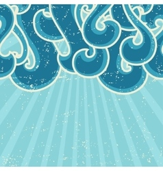 Grunge retro background with abstract curly waves vector image