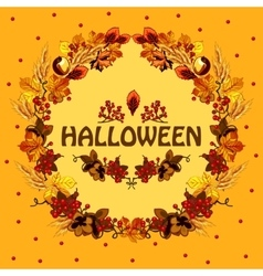 Halloween autumn card with a wreath of leaves vector