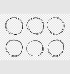 hand drawn circle frame set vector image