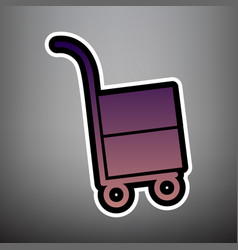 hand truck sign violet gradient icon with vector image