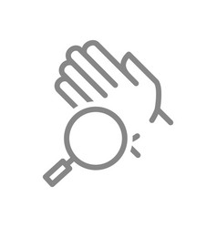 Hand with magnifying glass line icon hygiene vector