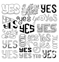 handwritten yes phrases words vector image