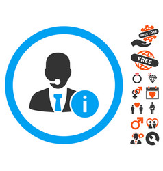 Help desk manager icon with dating bonus vector