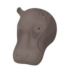 Hippopotamus icon in cartoon style isolated on vector