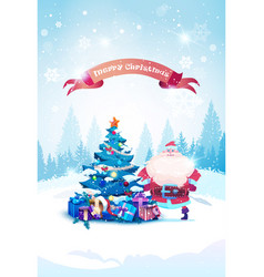 holiday banner santa claus standing at christmas vector image