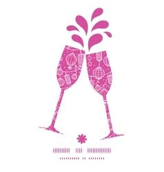 Holiday lanterns line art toasting wine glasses vector