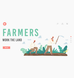 Indian farmers work land landing page template vector