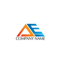 initial letter a and e logo design vector image