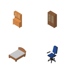 Isometric furnishing set of cabinet office vector
