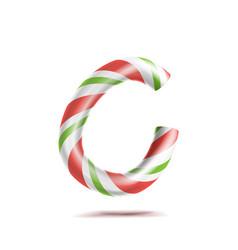 Letter c 3d realistic candy cane alphabet vector