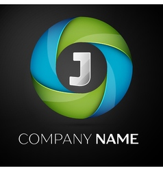Letter J logo symbol in the colorful circle on vector image