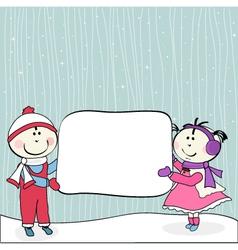little girl boy and billboard vector image
