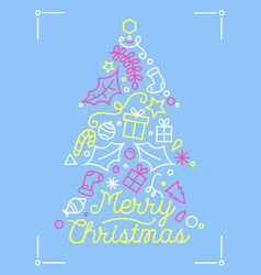 merry christmas greeting card with linear vector image