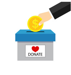 money box for charity donate hand giving coin vector image