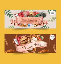 Oktoberfest banner design with pretzel beer wheat vector