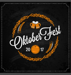 Oktoberfest logo on chalk design background vector