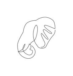 one single line drawing big cute elephant vector image