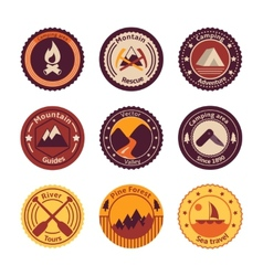 Outdoors tourism camping flat badges vector