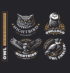Owl logo set- emblem design vector