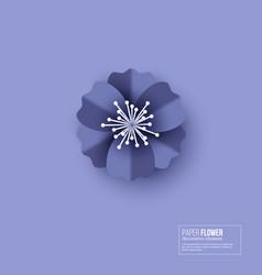 paper cut flower blue color vector image