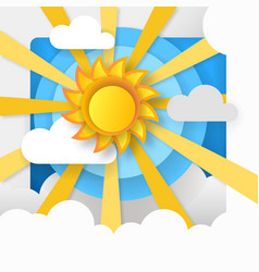 paper sun in blue sky and white clouds vector image