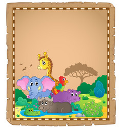 Parchment with african animals 1 vector