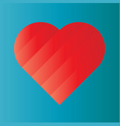 pink heart of gradient stripes on blue background vector image
