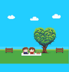 Pixel art couple vector