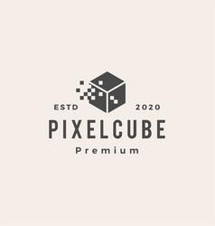 pixel cube digital hipster vintage logo icon vector image
