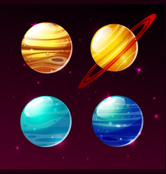 Planets of solar system in space galaxy vector