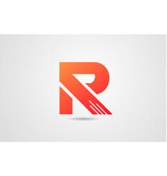 r orange alphabet letter logo icon design vector image