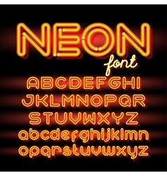 Round Neon Font vector image