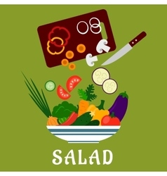 Salad with vegetables and chopping board vector
