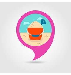 Sand Bucket and Shovel pin map icon Summer vector image