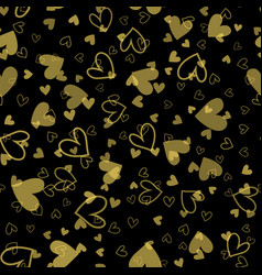 seamless pattern with gold hearts vector image