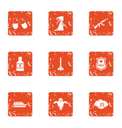 Serious crime icons set grunge style vector