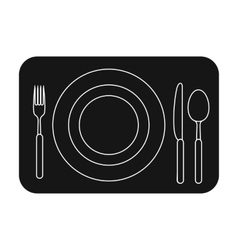 Served table icon in black style isolated on white vector image
