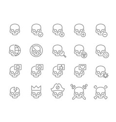 set human skulls line icon healthy cranium vector image