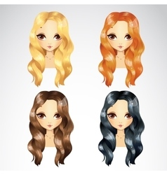 Set Of Casual Wave Hair Styling vector