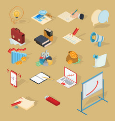 Set of isometric business icons vector