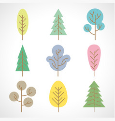 set of nine multicolored trees on white background vector image