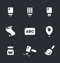 set writing tools icons vector image