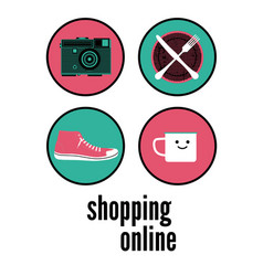 Shopping online typographic poster design vector