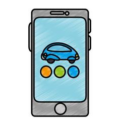 Smartphone device with futuristic car vector