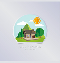 Summer camping greeting card typography flyer vector