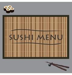 Sushi on bamboo vector