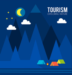 tourism and travel concept tents in forest vector image