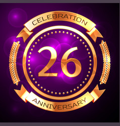 twenty six years anniversary celebration with vector image